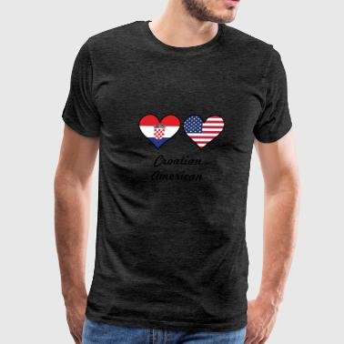 Croatian American Flag Hearts - Men's Premium T-Shirt