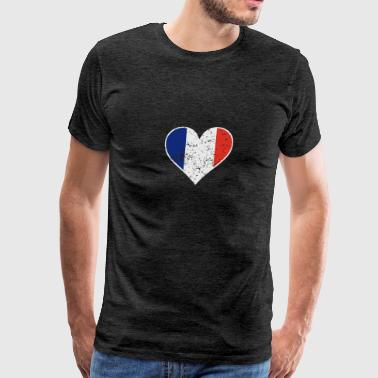 Distressed French Flag Heart - Men's Premium T-Shirt