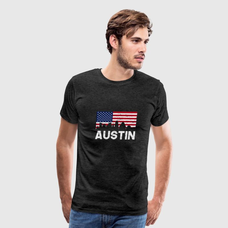 Austin TX American Flag Skyline Distressed - Men's Premium T-Shirt