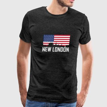 New London Connecticut Skyline American Flag - Men's Premium T-Shirt
