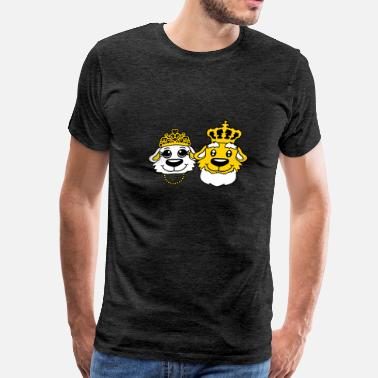 Old Couple face head old grandpa king king couple couple love - Men's Premium T-Shirt