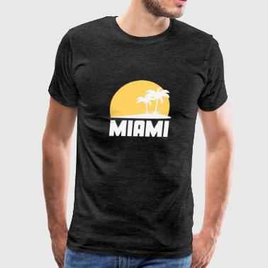 Miami Florida Sunset Palm Trees Beach - Men's Premium T-Shirt