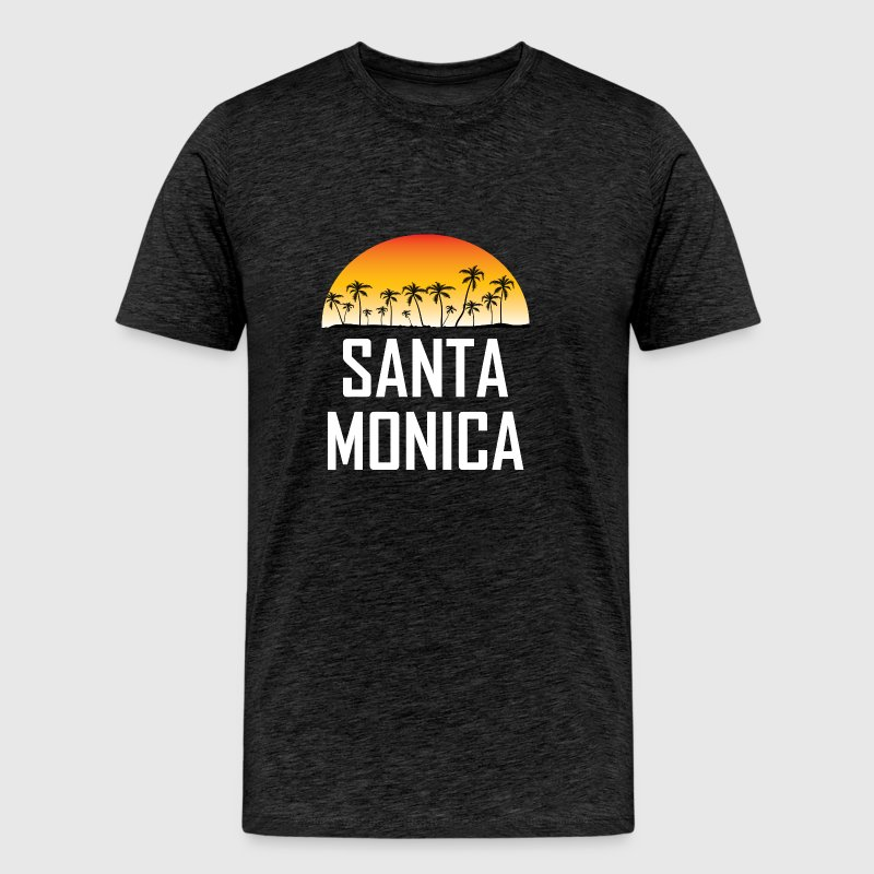 Santa Monica Sunset And Palm Trees Beach Vacation - Men's Premium T-Shirt