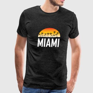 Miami Florida Sunset And Palm Trees Beach - Men's Premium T-Shirt