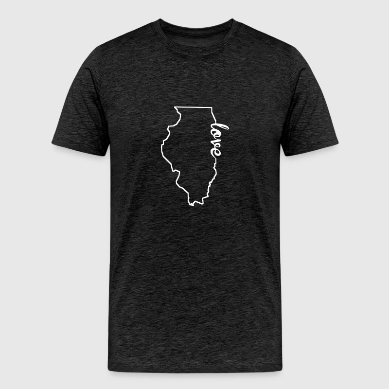 Illinois Love State Outline - Men's Premium T-Shirt