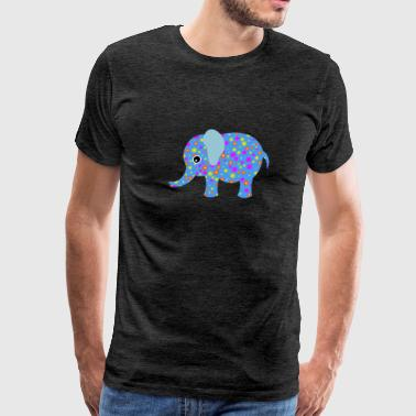 Cute Baby Elephant Flower Floral Art Design - Men's Premium T-Shirt