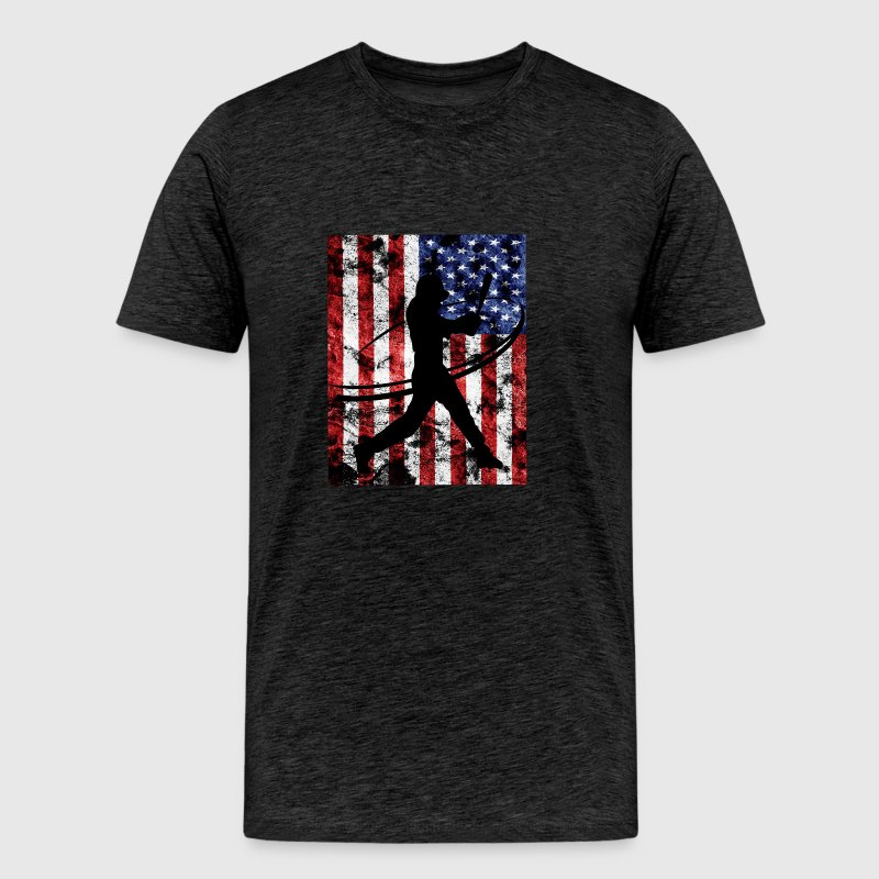 Baseball Pitcher American Flag Tee Shirt - Men's Premium T-Shirt
