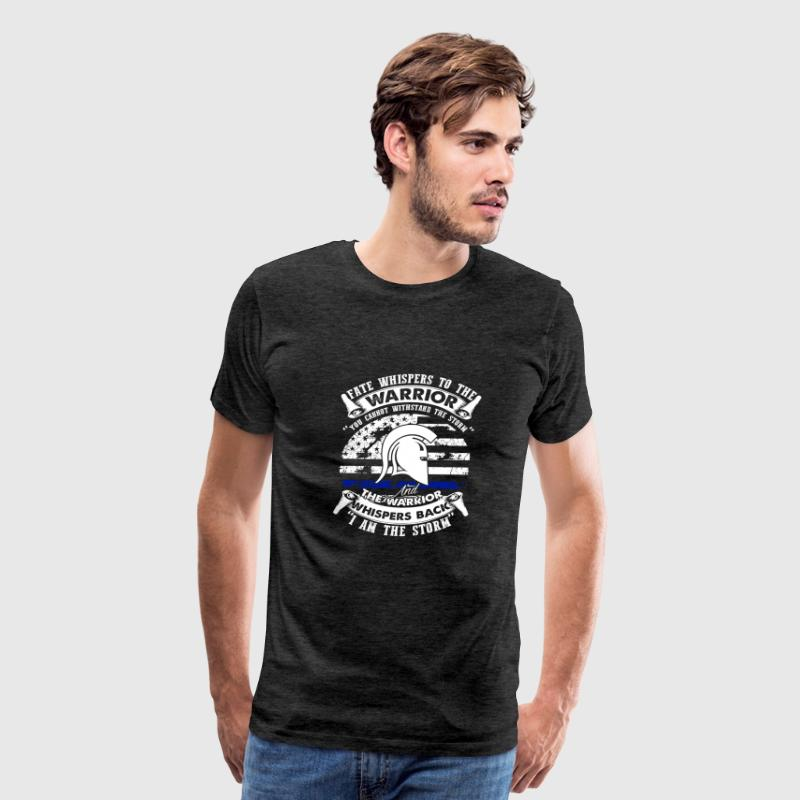 Thin Blue Line American Flag I Am The Storm Shirt - Men's Premium T-Shirt