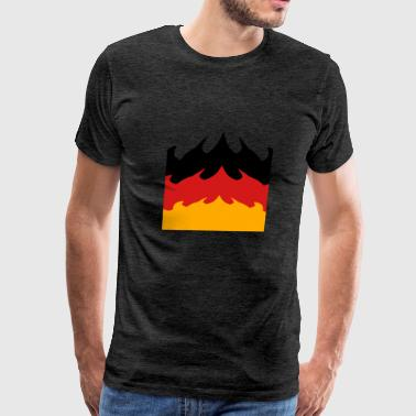 big area flames fire burning hot 3 colors germany  - Men's Premium T-Shirt