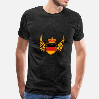 Red & Gold Nation crown wings 3 colors germany nation black red gold - Men's Premium T-Shirt