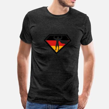 Black And Red Diamond superhero savior crest diamond shape super button  - Men's Premium T-Shirt