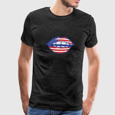 lips female mouth sexy hot cute erotic symbol usa  - Men's Premium T-Shirt