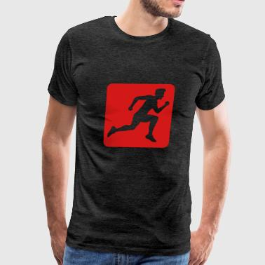 button design sport race sprinting fast endurance  - Men's Premium T-Shirt