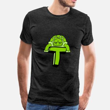 Capital Letter T turtle turtle armored animal tank letter T initial - Men's Premium T-Shirt