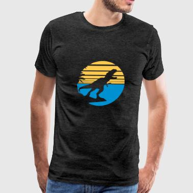 island holiday palms beach park silhouette black o - Men's Premium T-Shirt