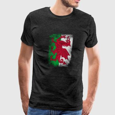 Wales Flag Proud Welsh Vintage Distressed Shirt - Men's Premium T-Shirt