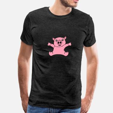 Child Friendly sitting friendly small child baby pig face head cu - Men's Premium T-Shirt