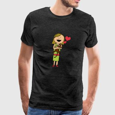 Cartoon Girl Hugging Cat 2400px - Men's Premium T-Shirt