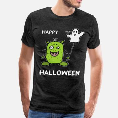 Happy Halloween Monster with Ghost Balloon - Men's Premium T-Shirt