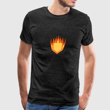 hot fire flames angular shield emblem emblem frame - Men's Premium T-Shirt
