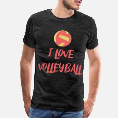I Love Grandpa I Love Volleyball Beachvolleyball Geschenk - Men's Premium T-Shirt