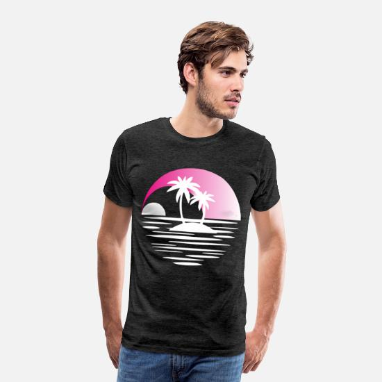 Sunrise T-Shirts - Island with palms white pink - Men's Premium T-Shirt charcoal gray