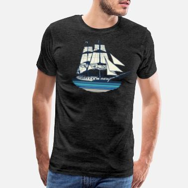 Seagull Sailing Ship vessel Ocean Navy on the sea - Men's Premium T-Shirt