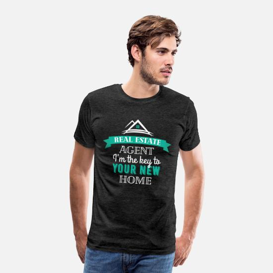 Real T-Shirts - Real Estate Agent - Real Estate Agent I'm the key - Men's Premium T-Shirt charcoal gray
