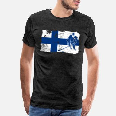 Baltic Sea Finland Suomi Ice Hockey Player Flag Gift Idea - Men's Premium T-Shirt
