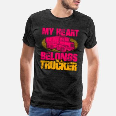 My Aunt My Heart Belongs to a Trucker Wife Husband Trucks - Men's Premium T-Shirt