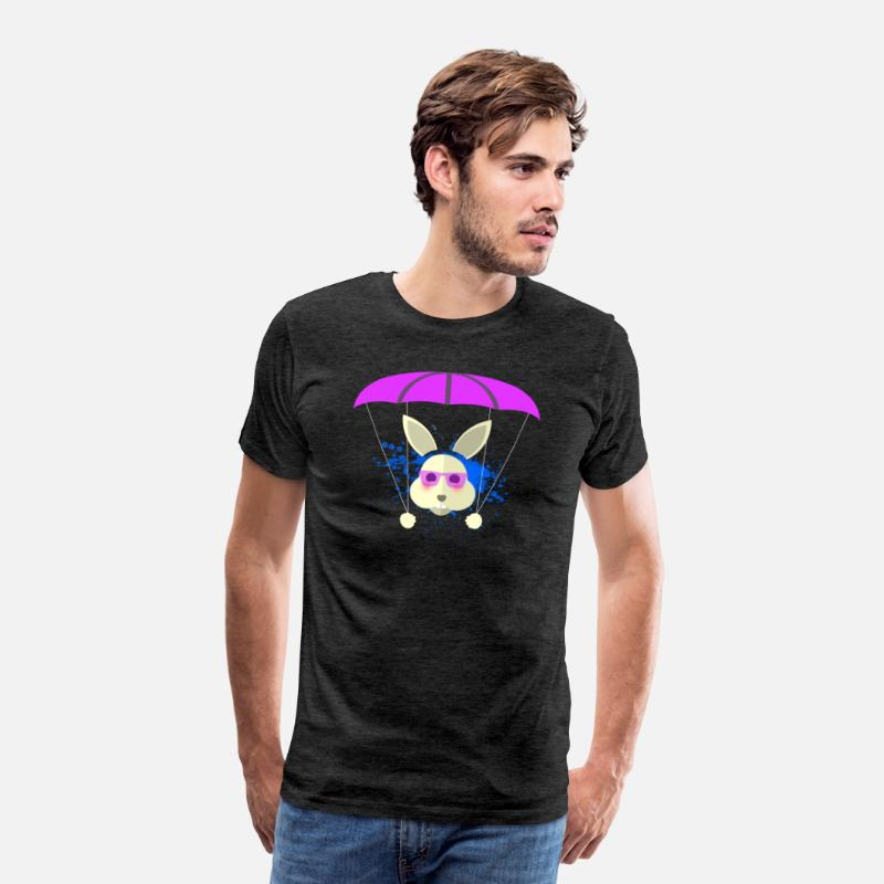 Skydiving T-Shirts - Cute Rabbit Bunny Parachute Paragliding Sport Gift - Men's Premium T-Shirt charcoal gray