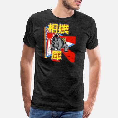 Japanese Style Sumo Rhino in a cartoon japanese style - distresse - Men's Premium T-Shirt