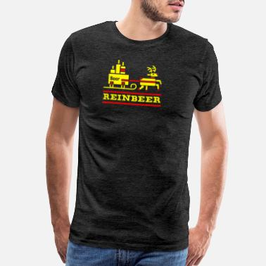 Mens Graphic Design Reinbeer T-Shirt Christmas Party Holiday Beer Drin - Men's Premium T-Shirt