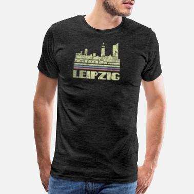 Vintage 70s Leipzig T-Shirt City Skyline Germany Retro Deutsch - Men's Premium T-Shirt