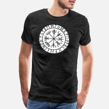 Germanic Tribes compass norse viking warrior odin thor barbar whit - Men's Premium T-Shirt
