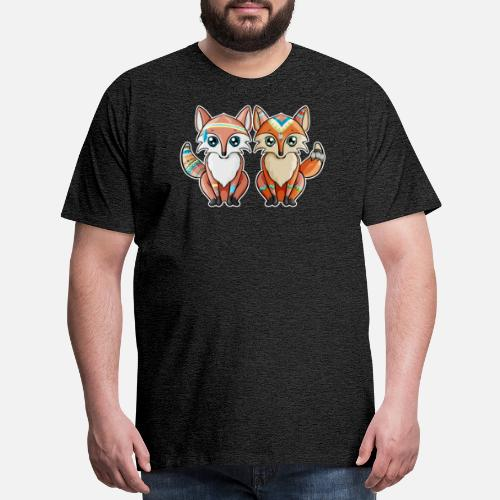 Mens Premium T ShirtFox Indian Pair Of Red Fox Birthday Gift Girl