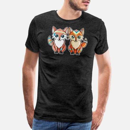 Fox Indian Pair Of Red Birthday Gift Girl Mens Premium T Shirt