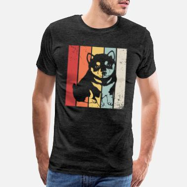 As A May Girl Vintage Shiba Inu Retro Distressed Silhouette Tees - Men's Premium T-Shirt