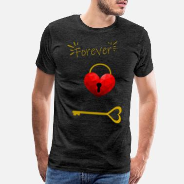Gold Letters Heart with lock and key forever gold - Men's Premium T-Shirt