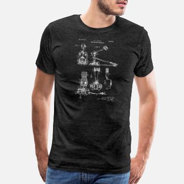 Drummer Drum Beating Mechanism Vintage Patent Blueprint - Men's Premium T-Shirt