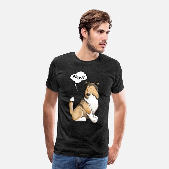 Collie T-Shirts - Play Collie - Dog - Dogs - Gift - Cartoon - Men's Premium T-Shirt charcoal gray