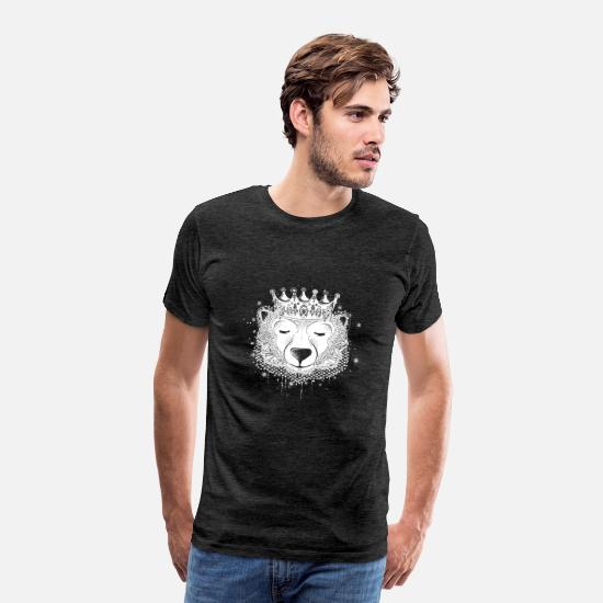 Royal T-Shirts - Polar bear with crown - Men's Premium T-Shirt charcoal gray