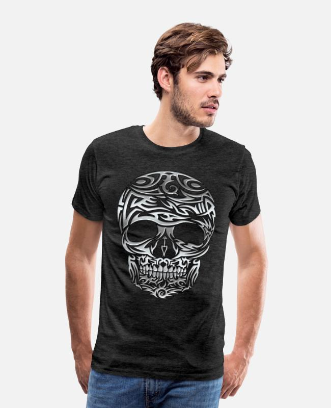 Chrome T-Shirts - Tribal Skull - Men's Premium T-Shirt charcoal gray