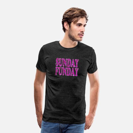 Lettering T-Shirts - Sunday Funday - Glitter Text - Purple Glitter - Men's Premium T-Shirt charcoal gray