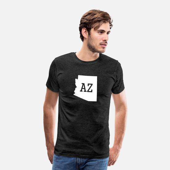 Arizona T-Shirts - Arizona State Map AZ - Men's Premium T-Shirt charcoal gray