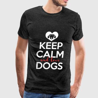 Dogs - Keep calm and love dogs - Men's Premium T-Shirt