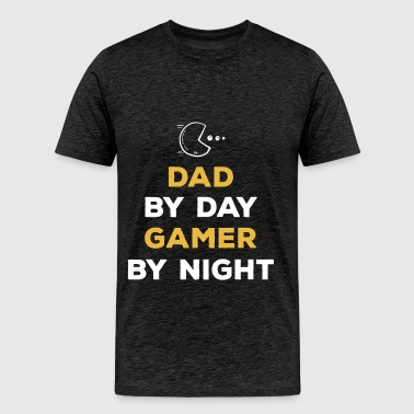 Gamer - Dad by day gamer by night - Men's Premium T-Shirt