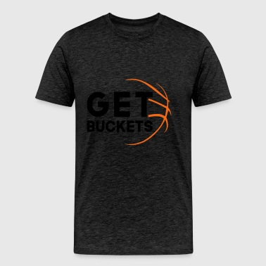 Get Buckets Basketball Graphic Tee - Men's Premium T-Shirt