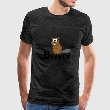 Cartoon Beaver - Men's Premium T-Shirt