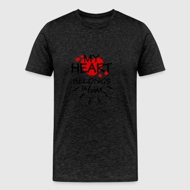 My heart belongs to him (black text) - Men's Premium T-Shirt